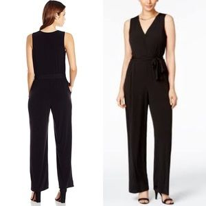 Solid knit sleeveless tie front sash jumpsuit nwot